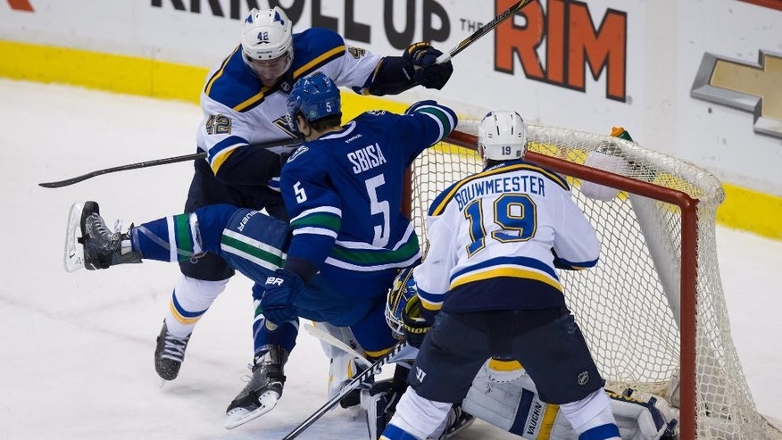 St. Louis Blues' David Backes (42) checks Vancouver Canucks' Luca Sbisa (5), of Switzerland, into goalie Jake Allen as Jay Bouwmeester (19) watches during the overtime period of an NHL hockey game in Vancouver, British Columbia, on Sunday, March 1, 2015. (AP Photo/The Canadian Press, Darryl Dyck)