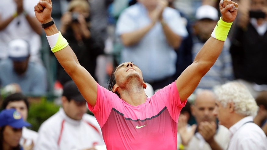 Rafael Nadal of Spain celebrates winning the final tennis match of the ATP Argentina Open against Juan Monaco of Argentina in Buenos Aires, Argentina,  Sunday, March 1, 2015. Nadal won 6-4, 6-1. (AP Photo/Victor R. Caivano)