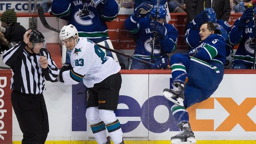 San Jose Sharks' Matt Nieto (83) checks Vancouver Canucks' Luca Sbisa, of Switzerland, during the third period of an NHL hockey game Tuesday, March 3, 2015, in Vancouver, British Columbia. (AP Photo/The Canadian Press, Darryl Dyck)