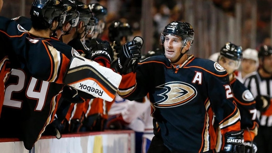Anaheim Ducks defenseman Francois Beauchemin celebrates his goal during the first period of an NHL hockey game against the Montreal Canadiens in Anaheim, Calif., Wednesday, March 4, 2015. (AP Photo/Chris Carlson)