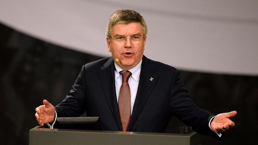 IOC President Thomas Bach of Germany makes a  a speech at Denmark's Sports Federation's Congress  in Brondby, Denmark Thursday March 5, 2015. (AP Photo/Lars Poulsen/Polfoto) DENMARK OUT