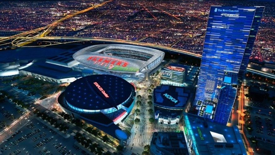 FILE -This undated file artist's rendering provided by AEG shows a proposed NFL football stadium, to be named Farmers Field in Los Angeles. AEG said in a statement Monday that it is 'no longer in discussion with the NFL or any NFL team.' (AP Photo/AEG, File)