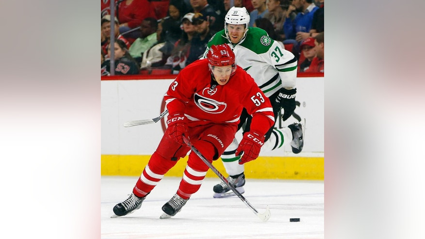 Carolina Hurricanes' Jeff Skinner (53) takes the puck away from Dallas Stars' Patrik Nemeth (37), of Sweden, during the second period of an NHL hockey game, Thursday, March 12, 2015, in Raleigh, N.C. (AP Photo/Karl B DeBlaker)