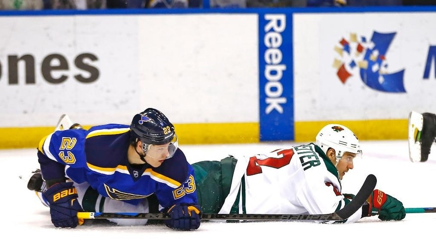 St. Louis Blues' Dmitrij Jaskin, left, of Russia, and Minnesota Wild's Nino Niederreiter, right, of Switzerland, fall to the ice after a collision during the second period of an NHL hockey game Saturday, March 14, 2015, in St. Louis.  (AP Photo/Billy Hurst)