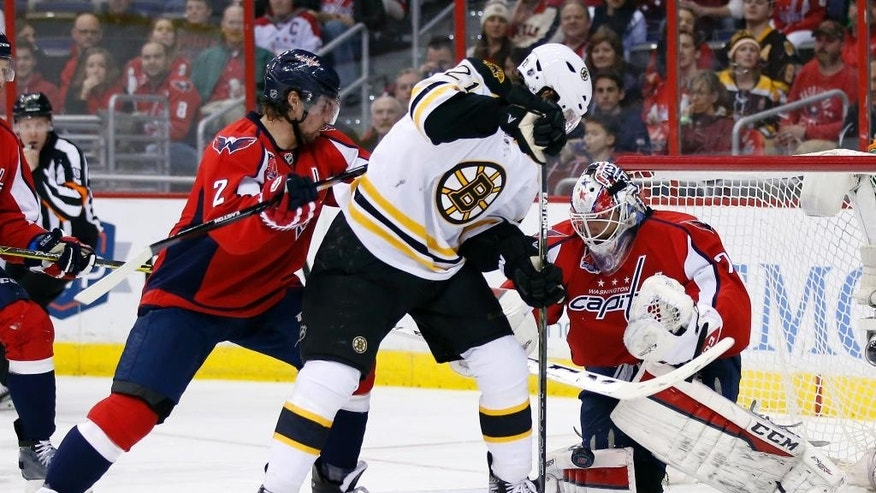 Washington Capitals defenseman Matt Niskanen (2) works against Boston Bruins left wing Loui Eriksson (21), from Sweden, with goalie Braden Holtby (70) in the second period of an NHL hockey game, Sunday, March 15, 2015, in Washington. (AP Photo/Alex Brandon)