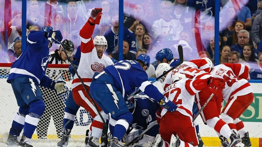 Detroit Red Wings' Tomas Tatar (21), of Slovakia, celebrates a goal against the Tampa Bay Lightning during the second period of an NHL hockey game Friday, March 20, 2015, in Tampa, Fla. (AP Photo/Mike Carlson)