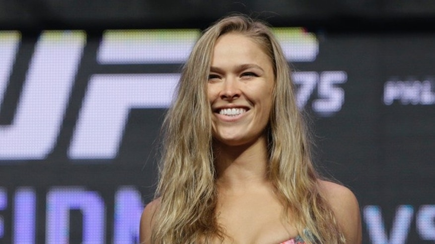 Ronda Rousey during a weigh-in for the UFC 175 mixed martial arts event at the Mandalay Bay in Las Vegas, in 2014.