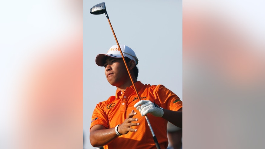 Hideki Matsuyama, of Japan, watches his tee shot on the third hole during the second round of the Arnold Palmer Invitational golf tournament in Orlando, Fla., Friday, March 20, 2015. (AP Photo/Reinhold Matay)