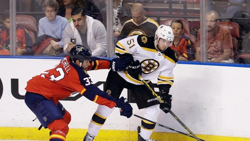 Florida Panthers defenseman Willie Mitchell (33) checks Boston Bruins center Ryan Spooner (51) in the second period of an NHL hockey game in Sunrise, Fla., Saturday, March 21, 2015. (AP Photo/Alan Diaz)