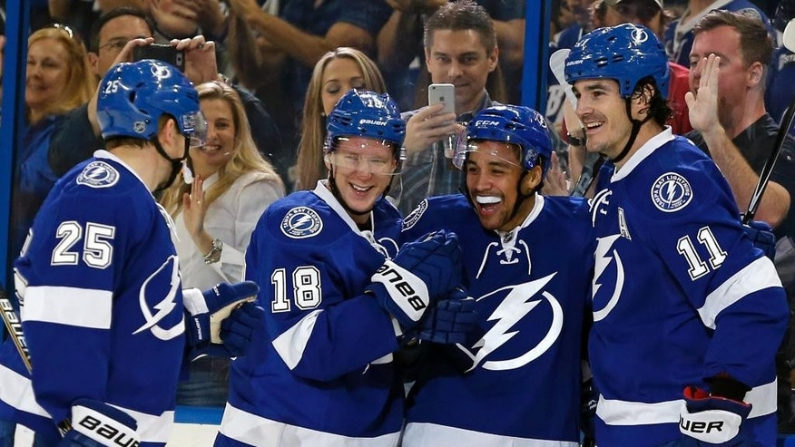 Tampa Bay Lightning's J.T. Brown (23) celebrates his goal with Matt Carle (25), Ondrej Palat (18), of the Czech Republic, and Brian Boyle (11) during the first period of an NHL hockey game against the Boston Bruins, Sunday, March 22, 2015, in Tampa, Fla. (AP Photo/Mike Carlson)