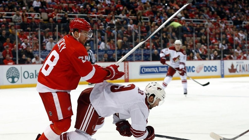 Detroit Red Wings defenseman Marek Zidlicky (28) checks Arizona Coyotes center Sam Gagner (9) off the puck during the first period of an NHL hockey game in Detroit on Tuesday, March 24, 2015. (AP Photo/Paul Sancya)