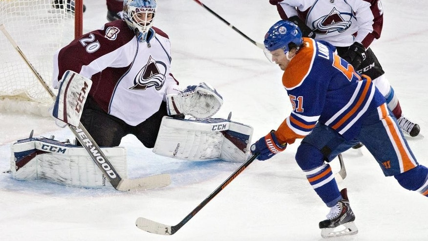 Colorado Avalanche goalie Reto Berra (20) defends Edmonton Oilers' Anton Lander (51) during the second period of an NHL hockey game Wednesday, March 25, 2015, in Edmonton, Alberta. (AP Photo/The Canadian Press, Jason Franson)