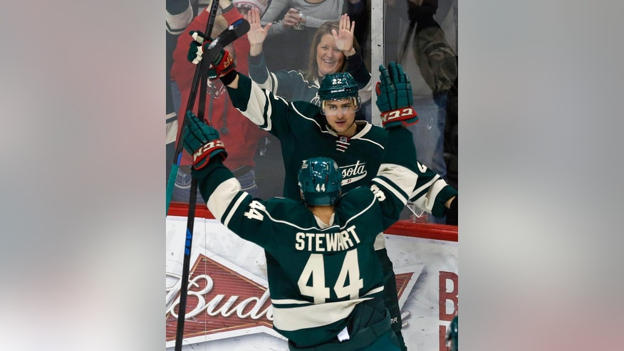 Minnesota Wild's Nino Niederreiter (22), of Switzerland, and Chris Stewart celebrate Niederreiter's goal against Los Angeles Kings goalie Jonathan Quick in the first period of an NHL hockey game, Saturday, March 28, 2015, in St. Paul, Minn. (AP Photo/Jim Mone)