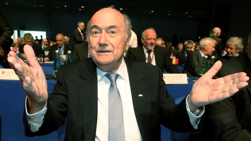 FIFA President Joseph Blatter at the 39th Ordinary UEFA Congress in Vienna, Austria, Tuesday, March 24, 2015.