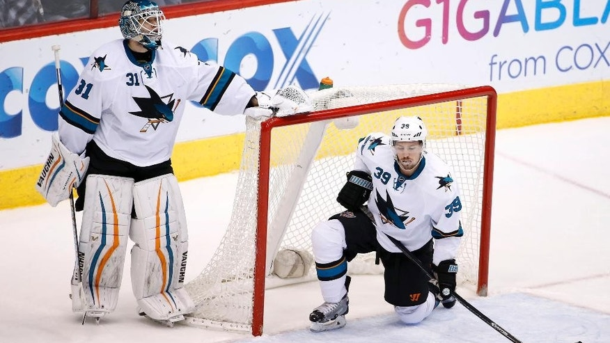San Jose Sharks' Antti Niemi (31), of Finland, and Logan Couture (39) dejectedly pause on the ice after a goal scored by Arizona Coyotes' Oliver Ekman-Larsson, of Sweden, during the second period of an NHL hockey game Saturday, April 4, 2015, in Glendale, Ariz.  The Coyotes defeated the Sharks 5-3. (AP Photo/Ross D. Franklin)