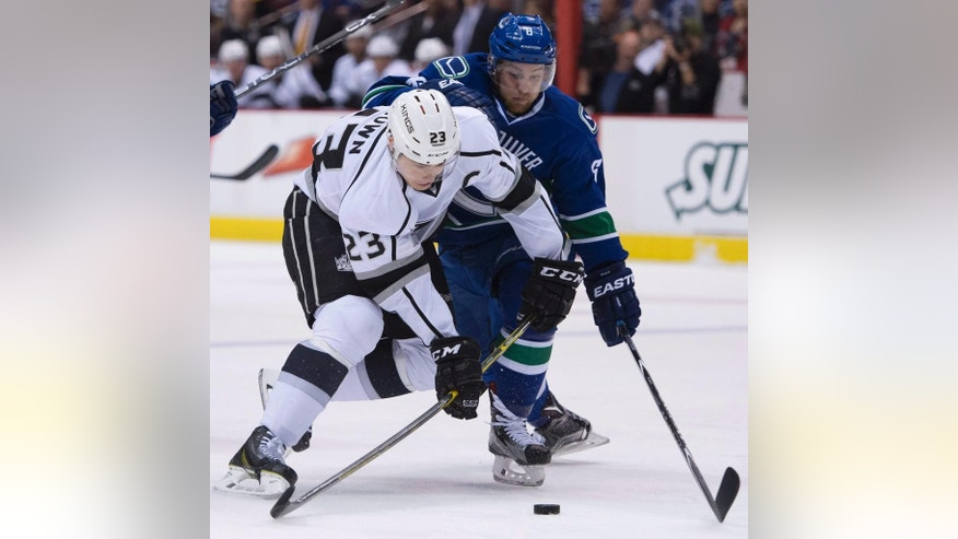 Vancouver Canucks defenseman Yannick Weber (6) fights for control of the puck with Los Angeles Kings right wing Dustin Brown (23) during the first period of an NHL hockey game in Vancouver, British Columbia, Monday, April 6, 2015. (AP Photo/The Canadian Press, Jonathan Hayward)