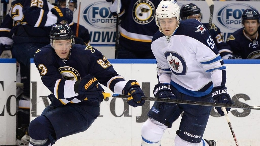 St. Louis Blues' Dmitrij Jaskin (23), of Russia, and Winnipeg Jets' Mark Scheifele (55) reach for the puck during the first period of an NHL hockey game, Tuesday, April 7, 2015, in St. Louis. (AP Photo/Bill Boyce)