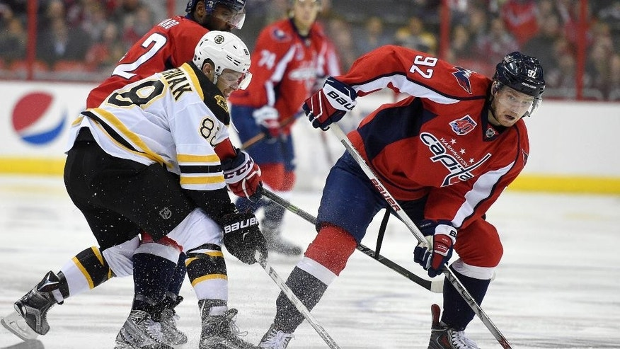 Washington Capitals center Evgeny Kuznetsov (92), of Russia, skates with the puck against Boston Bruins right wing David Pastrnak (88) during the first period of an NHL hockey game, Wednesday, April 8, 2015, in Washington. (AP Photo/Nick Wass)