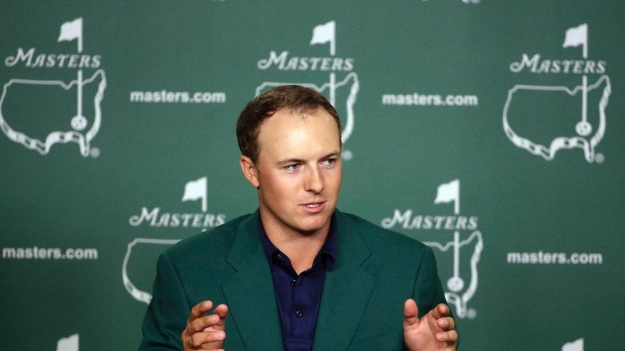 Jordan Spieth speaks to the media after winning the Masters golf tournament Sunday, April 12, 2015, in Augusta, Ga. (AP Photo/Chris Carlson)