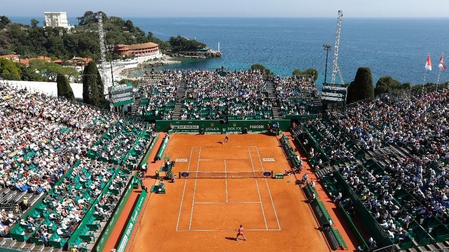 General view of the central court of the Monte Carlo Tennis Masters tournament in Monaco, Monday, April 13, 2015.(AP Photo/Lionel Cironneau)