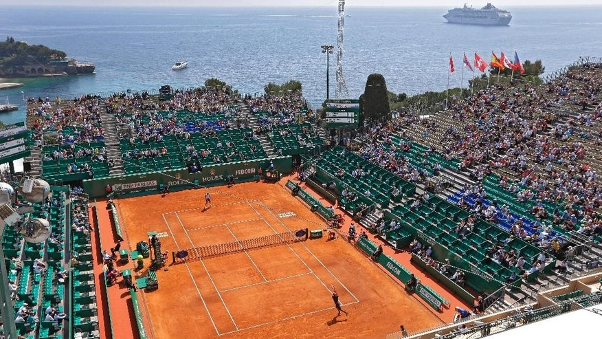 View of the central court of the Monte Carlo Tennis Masters tournament in Monaco, Tuesday, April 14, 2015. (AP Photo/Lionel Cironneau)