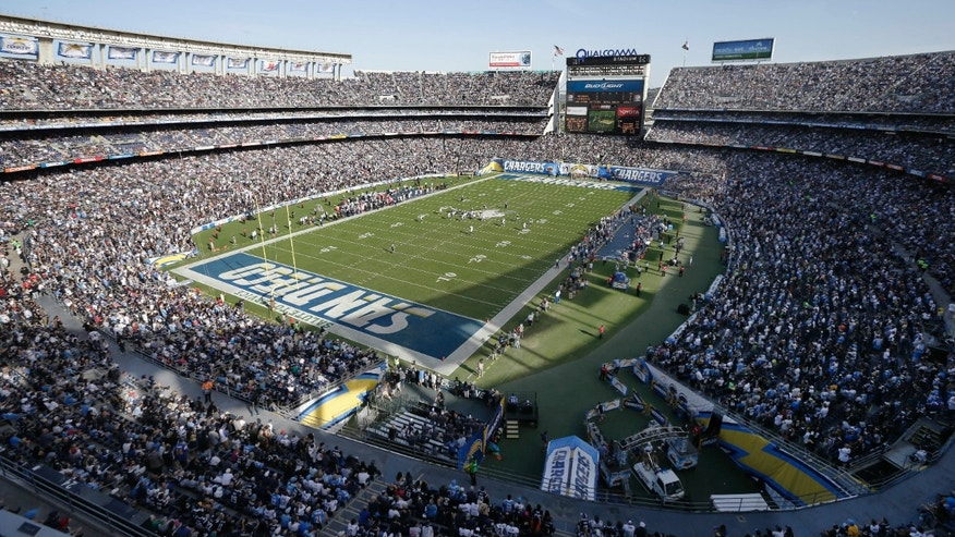 Nov. 16, 2014: This is a file photo showing a general view of the San Diego Chargers playing against the Oakland Raiders during the first half of an NFL football game at Qualcomm Stadium in San Diego.