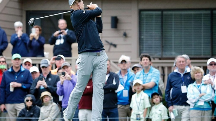 Jordan Spieth hits off the third tee during the first round of the RBC Heritage golf tournament in Hilton Head Island, S.C., Thursday, April 16, 2015. (AP Photo/Stephen B. Morton)