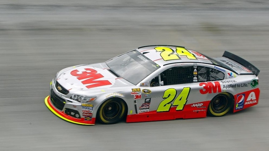 Driver Jeff Gordon makes a lap during practice for Sunday's NASCAR Sprint Cup Series auto race at Bristol Motor Speedway, Friday, April 17, 2015, in Bristol, Tenn. (AP Photo/Wade Payne)