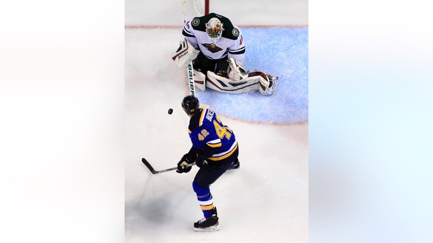 St. Louis Blues' David Backes, bottom, tries to reach a puck as Minnesota Wild goalie Devan Dubnyk defends during the second period in Game 2 of an NHL hockey first-round playoff series, Saturday, April 18, 2015, in St. Louis. (AP Photo/Jeff Roberson)