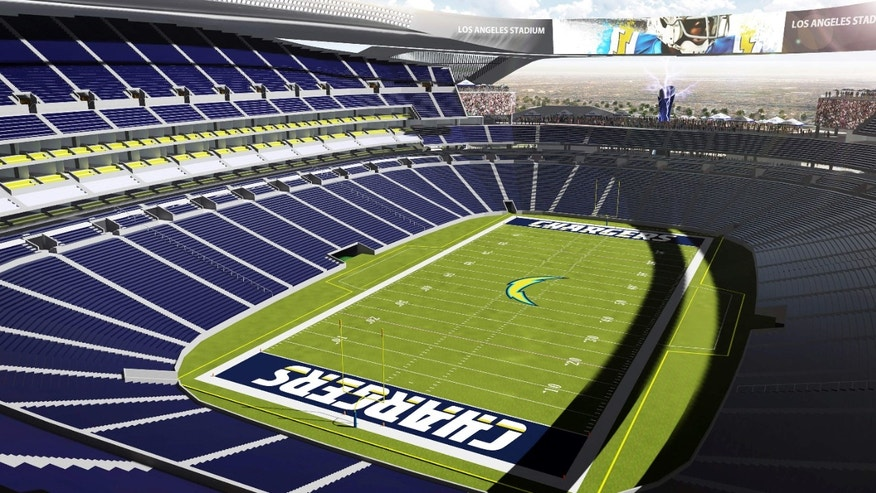 April 23, 2015: An artist's rendering provided by Carson2gether shows the interior a proposed stadium that would house both the Chargers and the Raiders NFL football teams in Carson, Calif.