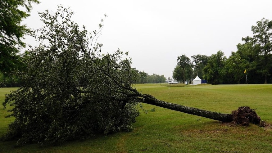 A fallen tree lies near the green of the 10th hole after a severe storm passed by suspending play the third round of the Zurich Classic PGA golf tournament, Saturday, April 25, 2015, in Avondale, La. (AP Photo/Butch Dill)
