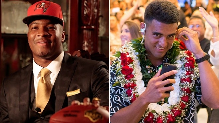 This split shows Jameis Winston posing with a Tamp Bay Buccaneers cap and NFL football, left, and former Oregon quarterback Marcus Mariota, right. (AP)