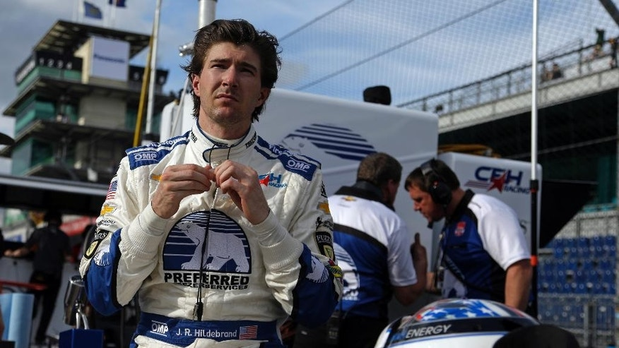 JR Hildebrand prepares to drive during practice for the Indianapolis 500 auto race at Indianapolis Motor Speedway in Indianapolis, Monday, May 11, 2015.  (AP Photo/Michael Conroy)