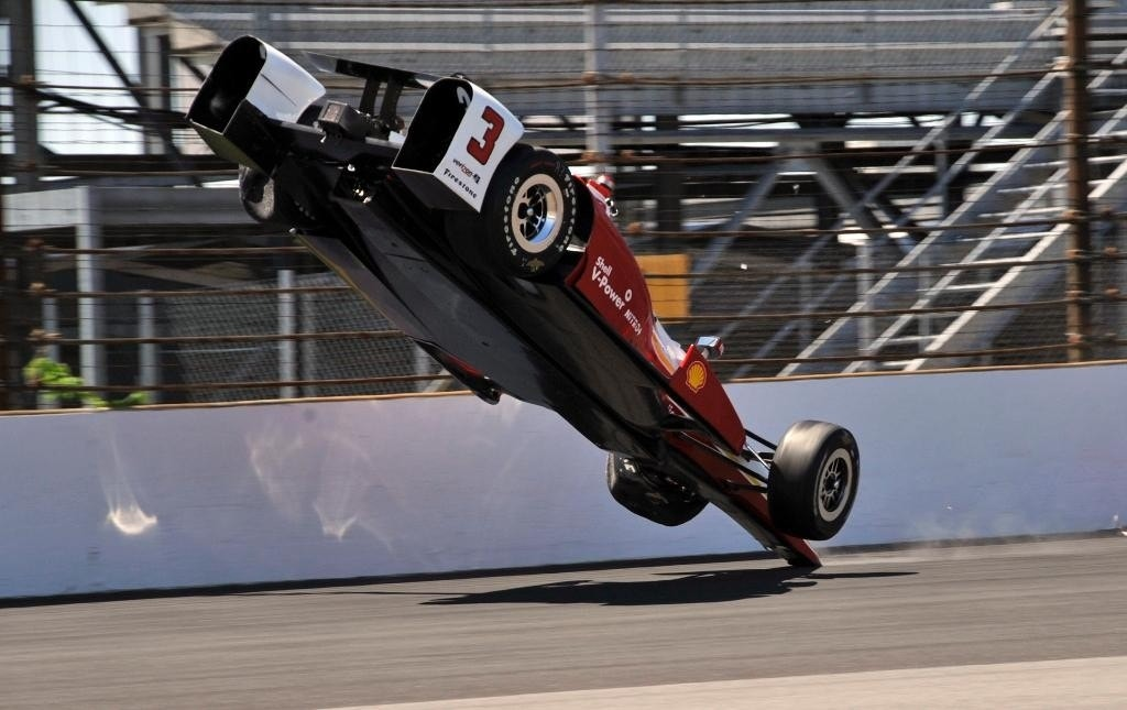 Castroneves walks away from scary crash after car goes airborne at Indianapolis 500 practice