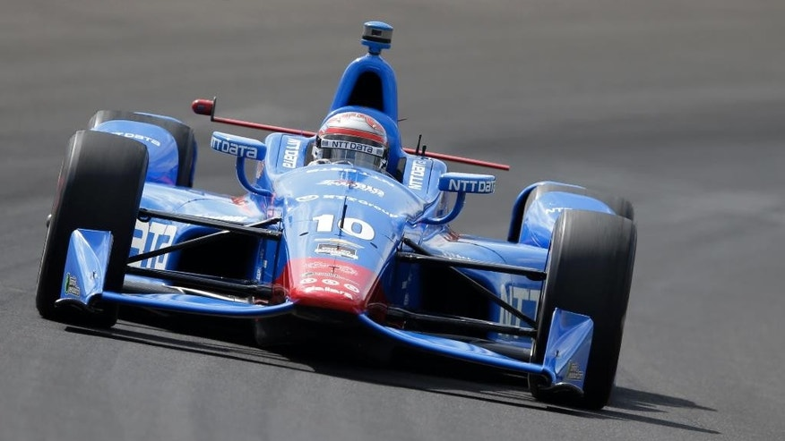 Tony Kanaan, of Brazil, steers his car during practice for the Indianapolis 500 auto race at Indianapolis Motor Speedway in Indianapolis, Friday, May 15, 2015.  (AP Photo/Darron Cummings)