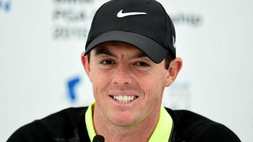 Northern Ireland's Rory McIlroy speaks during a press conference, following his round in the Pro-Am at the 2015 BMW PGA Championship at the Wentworth Golf Club, Surrey, England, Wednesday, May 20, 2015. (Adam Davy/PA via AP)     UNITED KINGDOM OUT     -    NO SALES     -    NO ARCHIVES