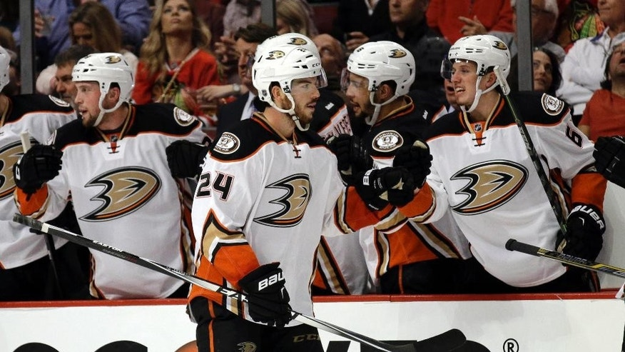 Anaheim Ducks defenseman Simon Despres (24) celebrates a goal with his teammates during the second period of Game 3 of the Western Conference finals against the Chicago Blackhawks in the NHL hockey Stanley Cup playoffs, Thursday, May 21, 2015, in Chicago. (AP Photo/Nam Y. Huh)