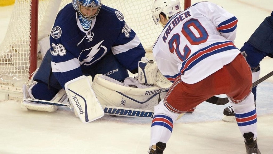 New York Rangers left wing Chris Kreider (20) scores a goal against Tampa Bay Lightning goalie Ben Bishop during the second period of Game 4 of the Eastern Conference finals in the NHL hockey Stanley Cup playoffs, Friday, May 22, 2015, in Tampa, Fla. (AP Photo/Phelan M. Ebenhack)