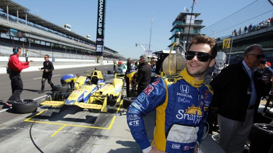 Marco Andretti waits for the start of the final practice session for the Indianapolis 500 auto race at Indianapolis Motor Speedway in Indianapolis, Friday, May 22, 2015.  (AP Photo/Darron Cummings)