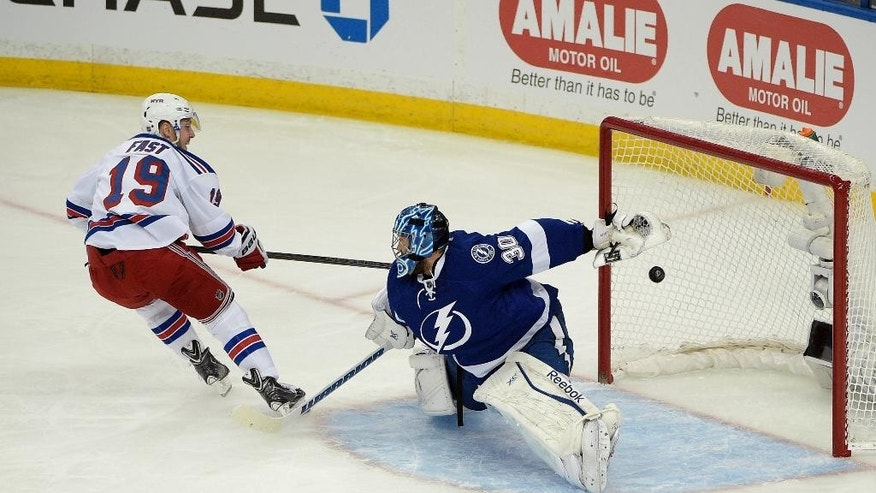 New York Rangers center Dominic Moore, left, celebrates after defenseman Keith Yandle scored a goal against Tampa Bay Lightning goalie Ben Bishop (30) during the second period of Game 4 of the Eastern Conference finals in the NHL hockey Stanley Cup playoffs, Friday, May 22, 2015, in Tampa, Fla. (AP Photo/Phelan M. Ebenhack)