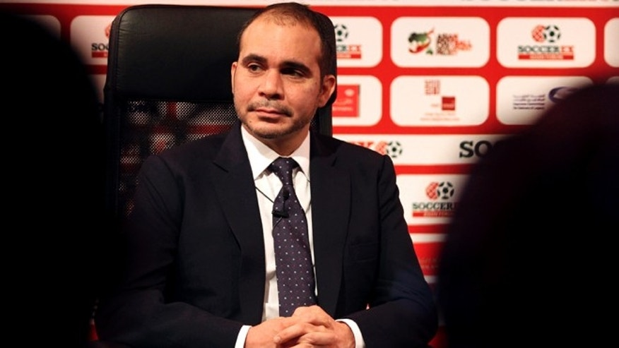 "FIFA presidential candidate, Jordan's Prince Ali, who is an outgoing FIFA vice president, attends the opening of the Soccerex Asian Forum, in Southern Shuneh, Jordan, Sunday, May 3, 2015. Prince Ali said Sunday that FIFA must give national associations a greater say in the governance of world football and adopt a more regional outlook because ""you cannot run everything simply from Zurich."" Fifa's reputation has been marred by scandal, including allegations of irregularities in the way hosting rights for the World Cup in 2018 and 2022 were awarded to Russia and Qatar, respectively. (AP Photo/Raad Adayleh)"
