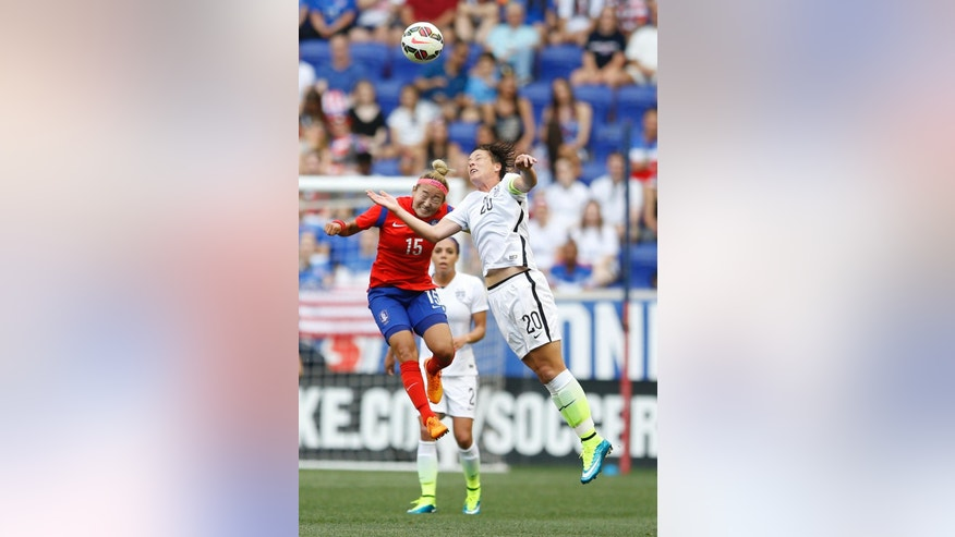 South Korea midfielder Cho Sohyun, left, and United States forward Abby Wambach (20) go up for the ball during the first half of an international friendly soccer match, Saturday, May 30, 2015, in Harrison, N.J. (AP Photo/Julio Cortez)