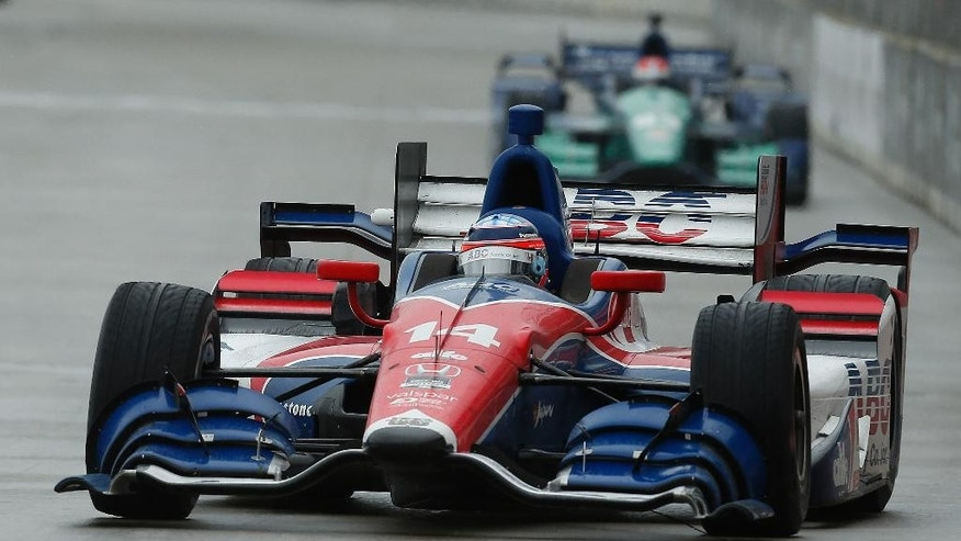Takuma Sato, of Japan, drives during the second race of the IndyCar Detroit Grand Prix auto racing doubleheader Sunday, May 31, 2015,in Detroit. (AP Photo/Paul Sancya)