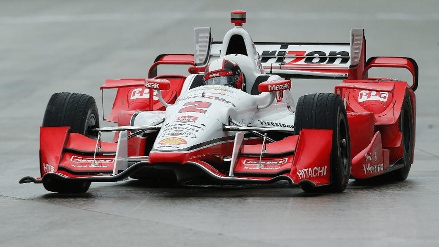 Juan Pablo Montoya, of Colombia, drives during the second race of the IndyCar Detroit Grand Prix auto racing doubleheader Sunday, May 31, 2015, in Detroit. (AP Photo/Paul Sancya)