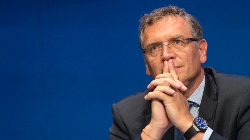 ZURICH, SWITZERLAND - MAY 30:  Jerome Valcke, FIFA secretary general,  attends th the FIFA Post Congress Week Press Conference at the Home of FIFA on May 30, 2015 in Zurich, Switzerland.  (Photo by Alessandro Della Bella/Getty Images)
