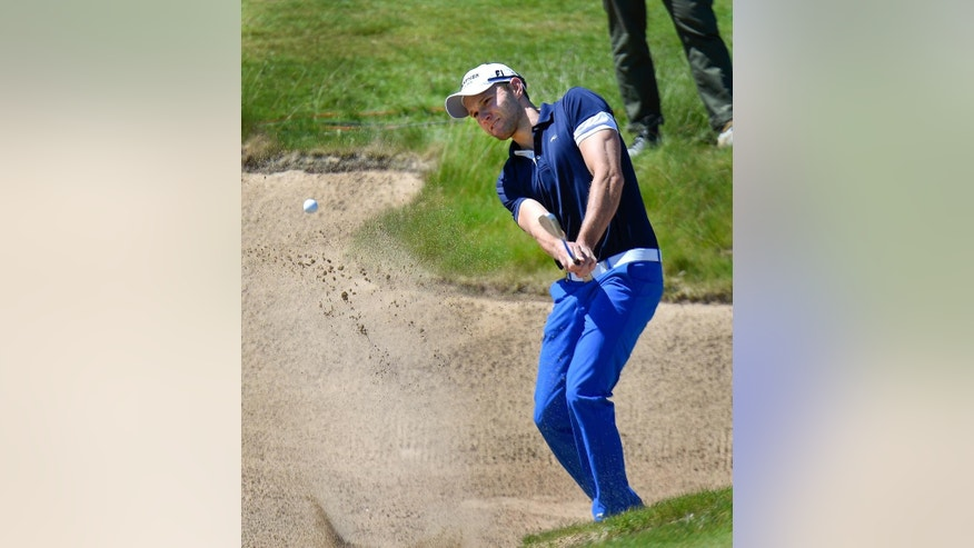 Germany's Maximilian Kieffer in the bunker at hole 17 during the Nordea Masters golf tournament at the PGA National golf course outside Malmo, Sweden, Friday, June 5, 2015. (Anders Wiklund / TT via AP)  SWEDEN OUT