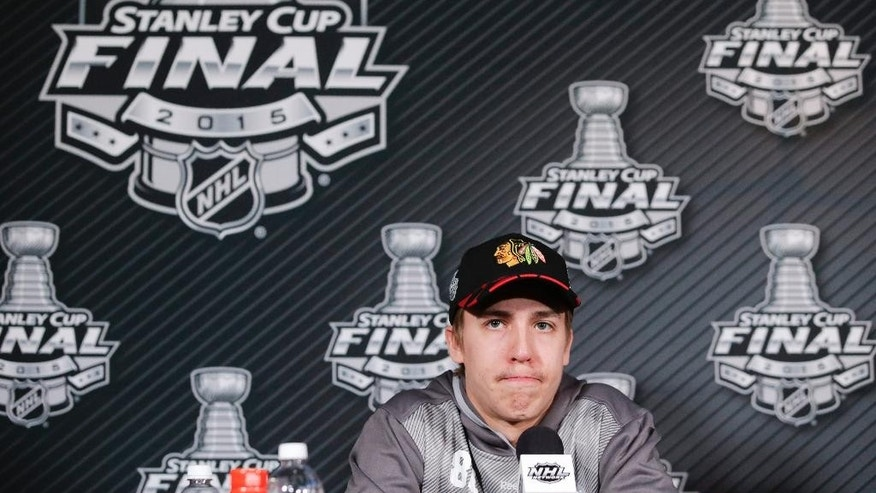 Chicago Blackhawks left wing Teuvo Teravainen speaks during a news conference at the NHL hockey Stanley Cup Final in Tampa, Fla., Thursday, June 4, 2015. The Blackhawks defeated the Tampa Bay Lightning 2-1 in Game 1 Wednesday night. Game 2 is scheduled for Saturday. (AP Photo/Chris Carlson)