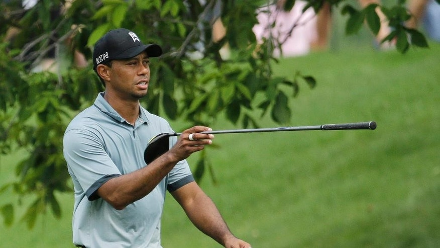 Tiger Woods points in the direction of his drive on the 11th hole during the second round of the Memorial golf tournament Friday, June 5, 2015, in Dublin, Ohio. (AP Photo/Darron Cummings)