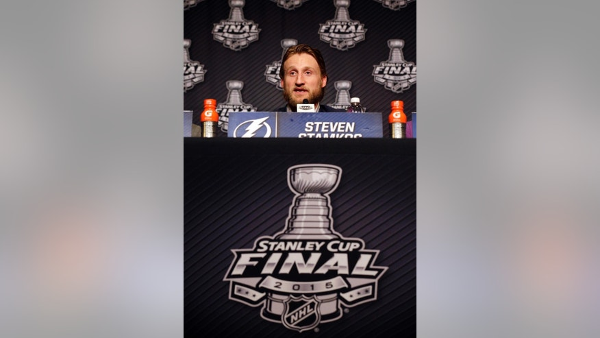 Tampa Bay Lightning center Steven Stamkos talks during a news conference, Sunday, June 7, 2015, in Chicago. The Tampa Bay Lightning and the Chicago Blackhawks are tied 1-1 in the NHL hockey Stanley Cup Final after the Tampa Bay Lightning defeated the Chicago Blackhawks 4-3 in Game 2. Game 3 is scheduled for Monday. (AP Photo/Nam Y. Huh)