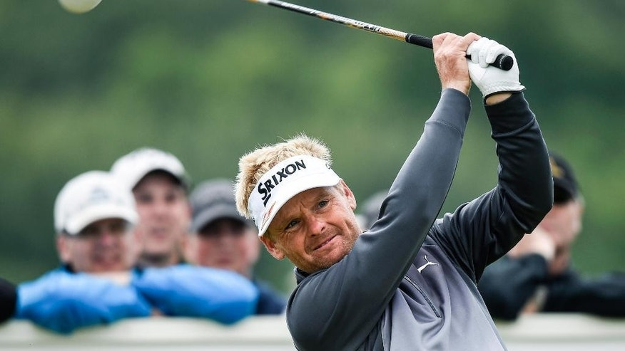 Denmarks Soren Kjeldsen tee's off on the second hole during the final round of the Nordea Masters at the PGA National golf course outside Malmo, Sweden, Sunday June 7, 2015. Kjeldsen ended at the second place in the competition. (Anders Wiklund / TT via AP) SWEDEN OUT